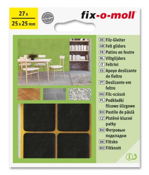 Filzgleiter selbstklebend fix-o-moll 25 x 25 mm Big Pack braun