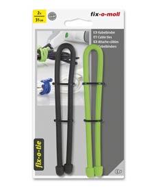 SUPER-SALE: Kabelbinder lösbar fix-o-moll 310mm schwarz hellgrün