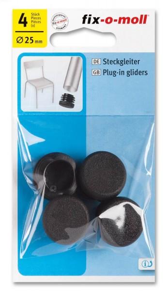 Steckgleiter fix-o-moll rund 25 mm schwarz