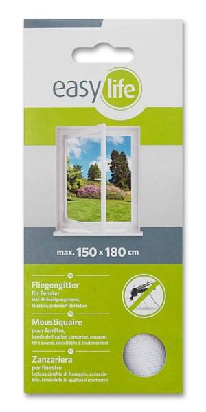 Fliegengitter Insektenschutz easy life für Fenster 150 x 180cm weiß