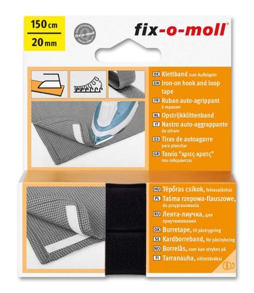 Klettband fix-o-moll zum Aufbügeln 150cm x 20mm schwarz