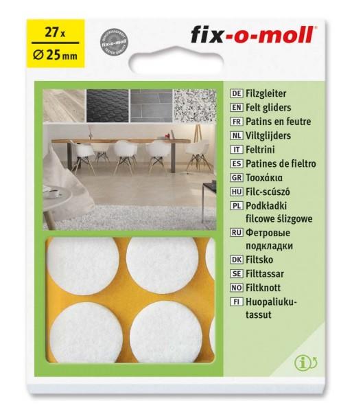 Filzgleiter selbstklebend fix-o-moll rund 25 mm Big Pack weiß