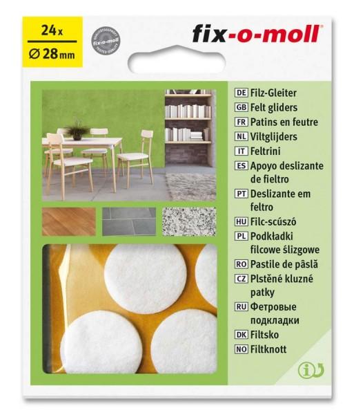 Filzgleiter selbstklebend fix-o-moll rund 28 mm Big Pack weiß