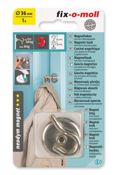 Magnet-Haken Neodym 36 mm fix-o-moll