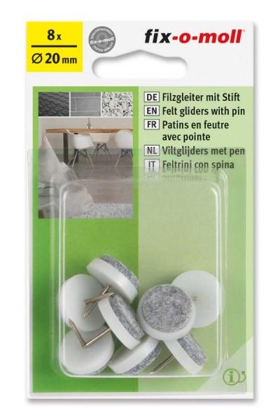 Filzgleiter mit Stift rund 20mm weiß fix-o-moll