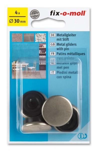 Metallgleiter Möbelgleiter fix-o-moll mit Stift rund 30 mm