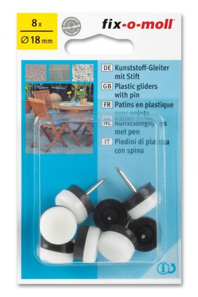 Kunststoffgleiter mit Stift fix-o-moll rund 18 mm weiß
