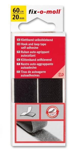 Klettband fix-o-moll selbstklebend 60cm x 20mm schwarz