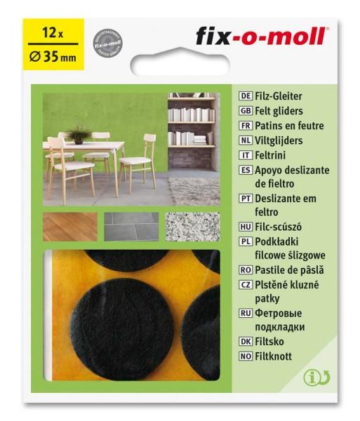 Filzgleiter selbstklebend fix-o-moll rund 35 mm Big Pack braun
