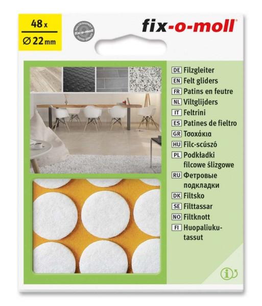 Filzgleiter selbstklebend fix-o-moll rund 22 mm Big Pack weiß