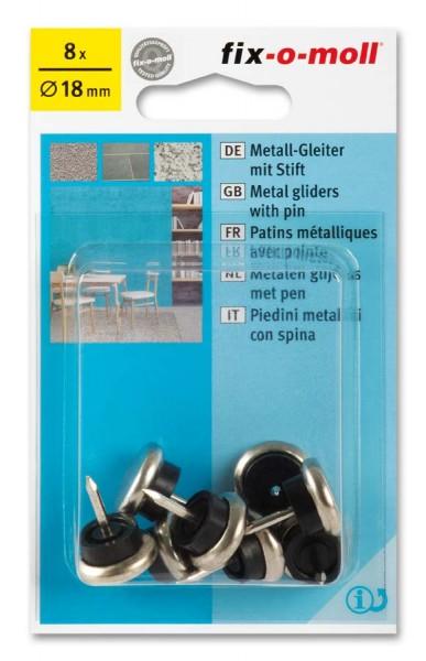 Metallgleiter Möbelgleiter fix-o-moll mit Stift rund 18 mm