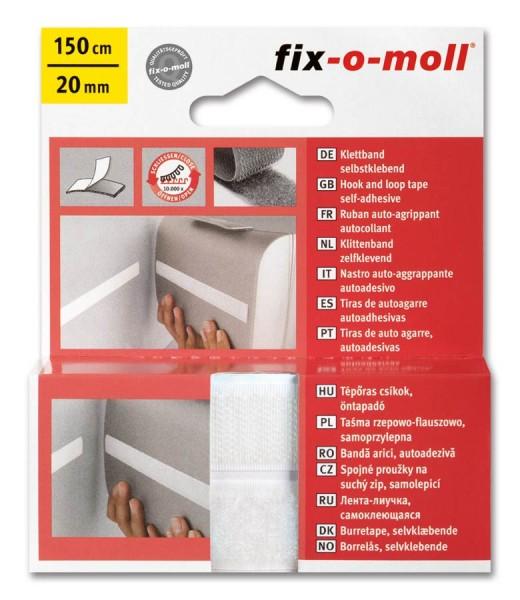 Klettband fix-o-moll selbstklebend 150cm x 20mm weiß