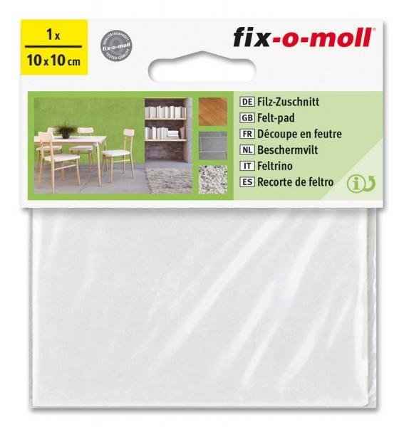Filzzuschnitt selbstklebend fix-o-moll 100 x 100 mm weiß