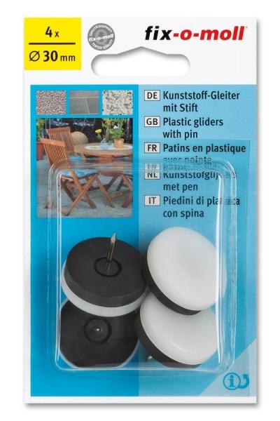 Kunststoffgleiter mit Stift fix-o-moll rund 30 mm weiß