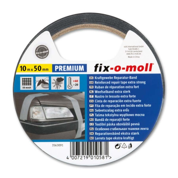 Reparaturband Panzerband fix-o-moll Premium schwarz 10m x 50mm