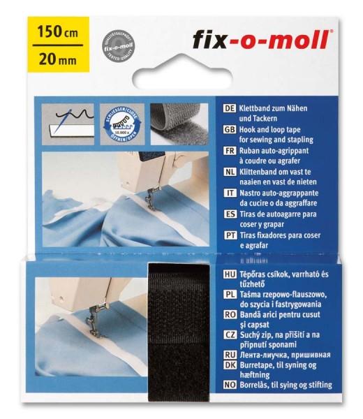 Klettband fix-o-moll zum Nähen 150cm x 20mm schwarz