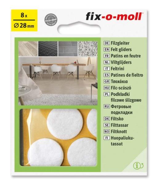 Filzgleiter selbstklebend fix-o-moll rund 28 mm weiß