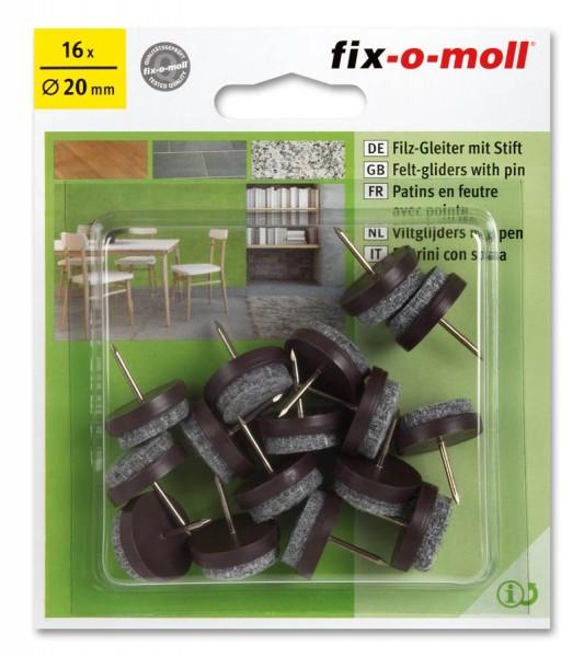 Filzgleiter mit Stift fix-o-moll rund 20 mm Sparpack braun