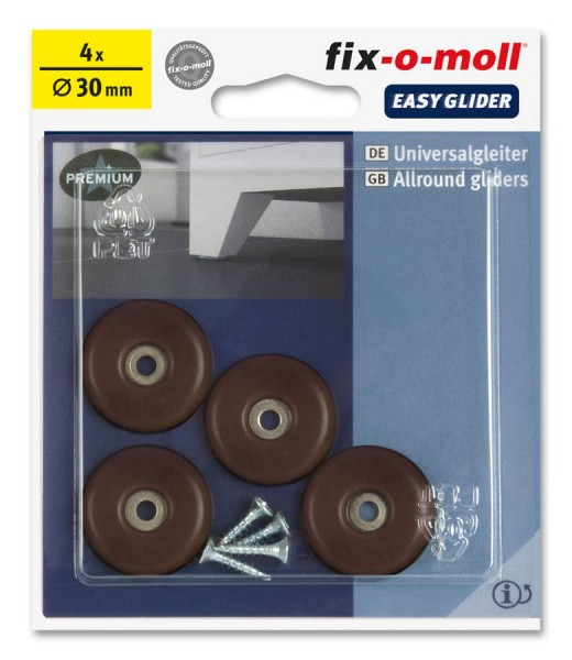 PTFE Universal Gleiter fix-o-moll rund 30 mm S braun