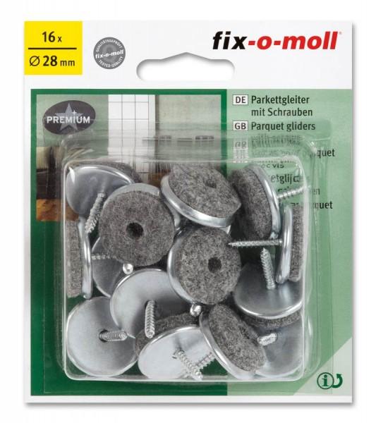 Parkettgleiter zum Schrauben fix-o-moll rund 28 mm Sparpack