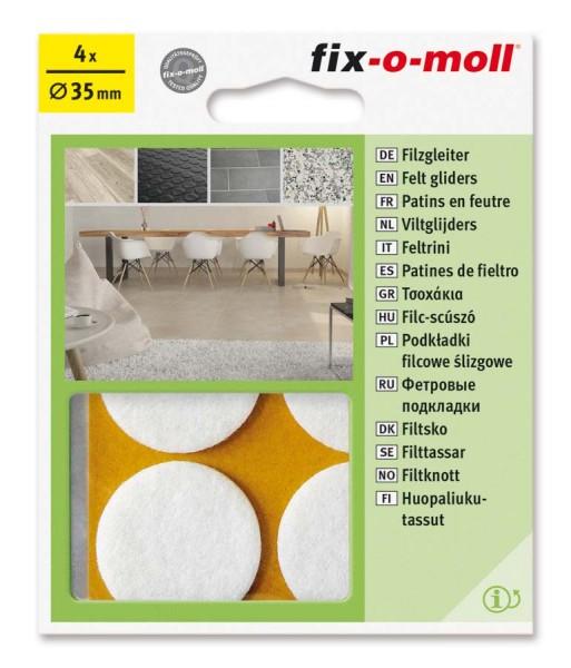 Filzgleiter selbstklebend fix-o-moll rund 35 mm weiß