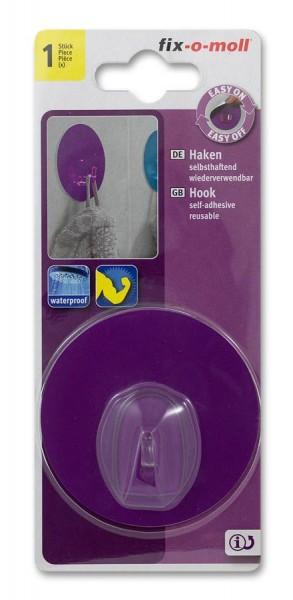 Haken selbsthaftend fix-o-moll rund 68mm transparent