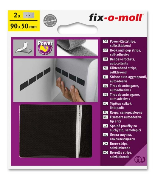 Power-Klettstrips 90mm x 50mm schwarz fix-o-moll