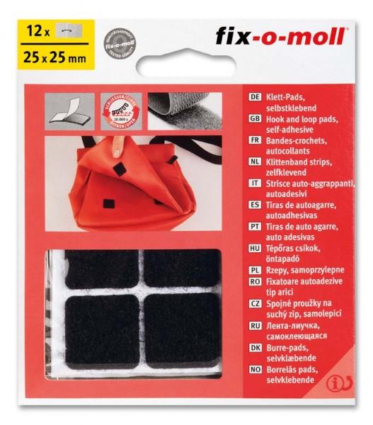 Klettpads fix-o-moll 25mm x 25mm schwarz
