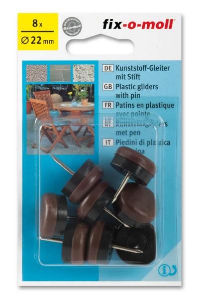 Kunststoffgleiter mit Stift fix-o-moll rund 18 mm braun