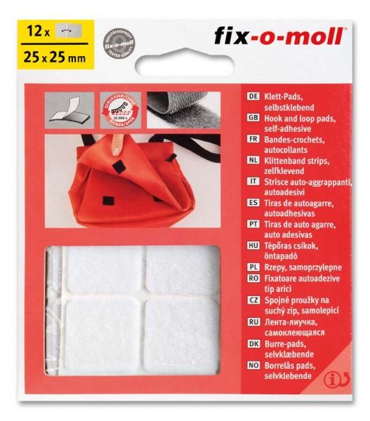 Klettpads fix-o-moll 25mm x 25mm weiß