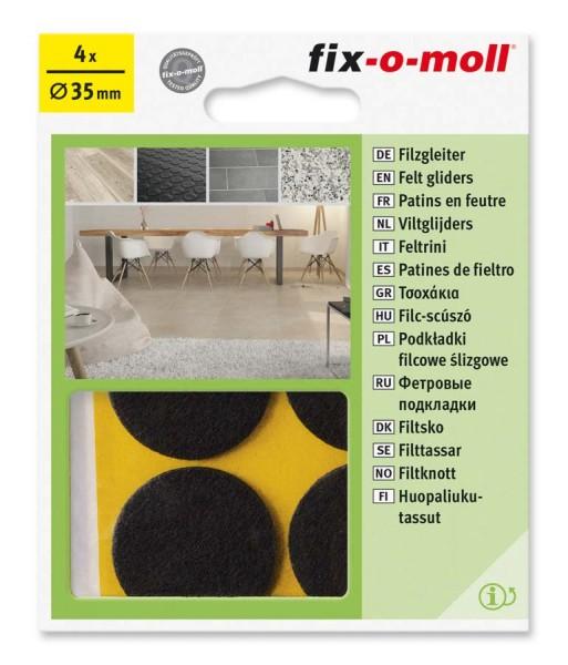 Filzgleiter selbstklebend fix-o-moll rund 35 mm braun