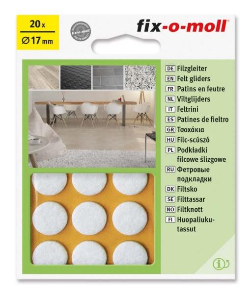 Filzgleiter selbstklebend fix-o-moll rund 17 mm weiß