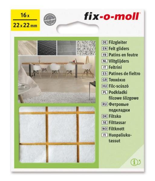 Filzgleiter selbstklebend fix-o-moll 22 x 22 mm weiß