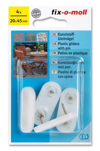 Kunststoff-Gleitnägel fix-o-moll 45 x 20 mm weiß