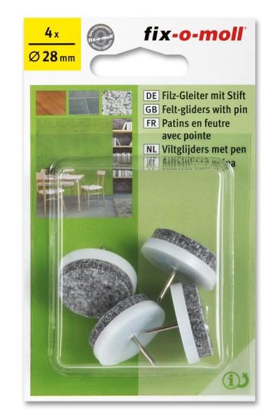 Filzgleiter mit Stift fix-o-moll rund 28 mm weiß