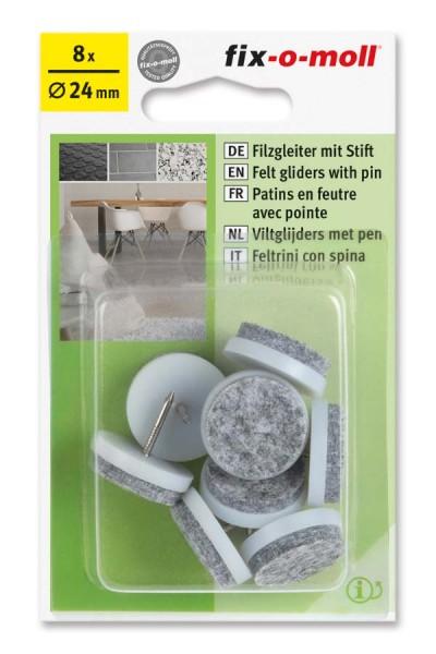 Filzgleiter mit Stift rund 24mm weiß fix-o-moll