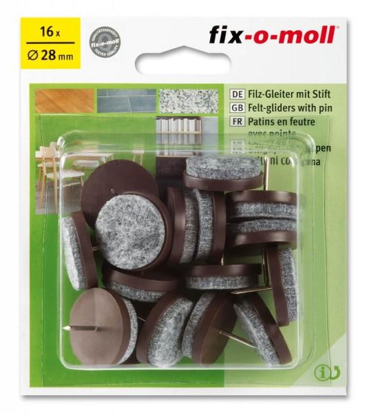Filzgleiter mit Stift fix-o-moll rund 28 mm Sparpack braun