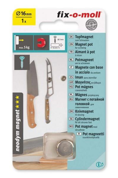 Topfmagnet Neodym fix-o-moll 16 mm
