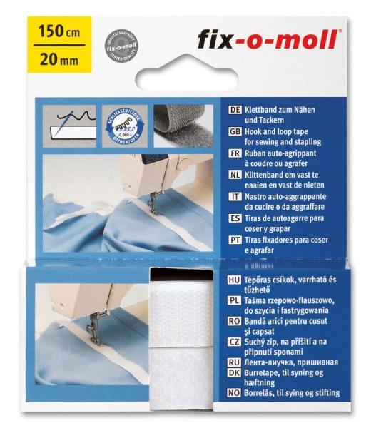 Klettband fix-o-moll zum Nähen 150cm x 20mm weiß