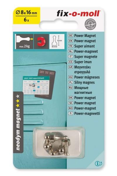 fix-o-moll Neodym Magnete Kegel 8 mm silber