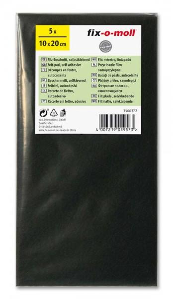 Filzzuschnitt selbstklebend fix-o-moll 100 x 200 mm Sparpack braun