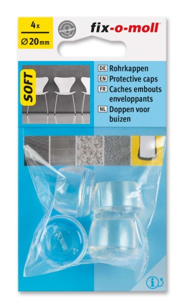 Rohrkappen Soft transparent 20 mm fix-o-moll