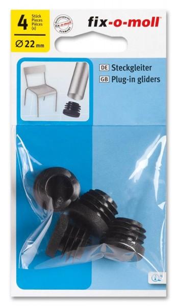 Steckgleiter fix-o-moll rund 22 mm schwarz