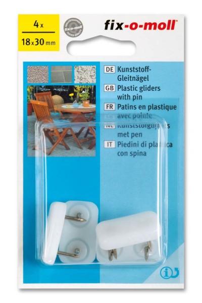 Kunststoff-Gleitnägel fix-o-moll 30 x 18 mm weiß
