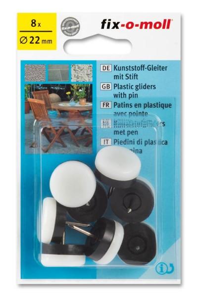 Kunststoffgleiter mit Stift fix-o-moll rund 22 mm weiß