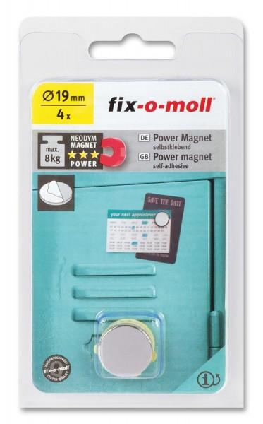 fix-o-moll Neodym Magnete Scheiben selbstklebend 19mm