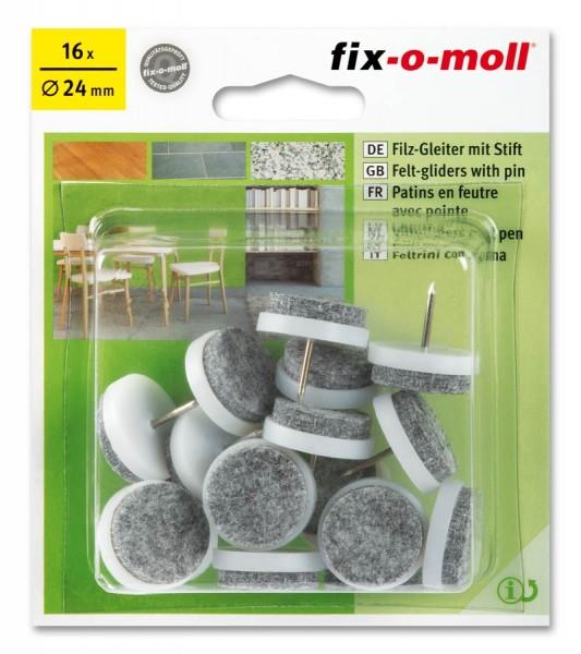 Filzgleiter mit Stift fix-o-moll rund 24 mm Sparpack weiß