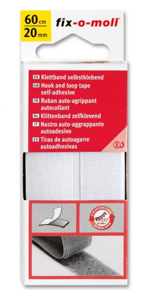 Klettband fix-o-moll selbstklebend 60cm x 20mm weiß
