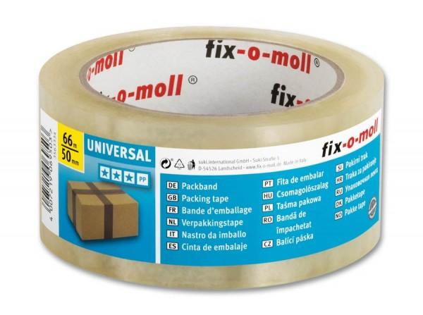 Packband Universal 66m x 50mm transparent fix-o-moll