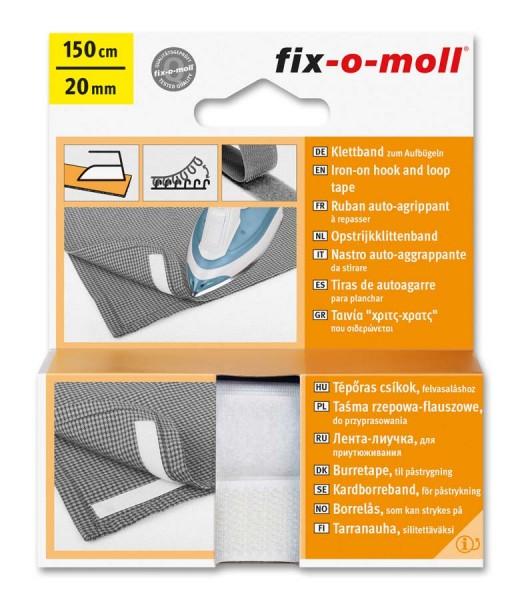 Klettband fix-o-moll zum Aufbügeln 150cm x 20mm weiß